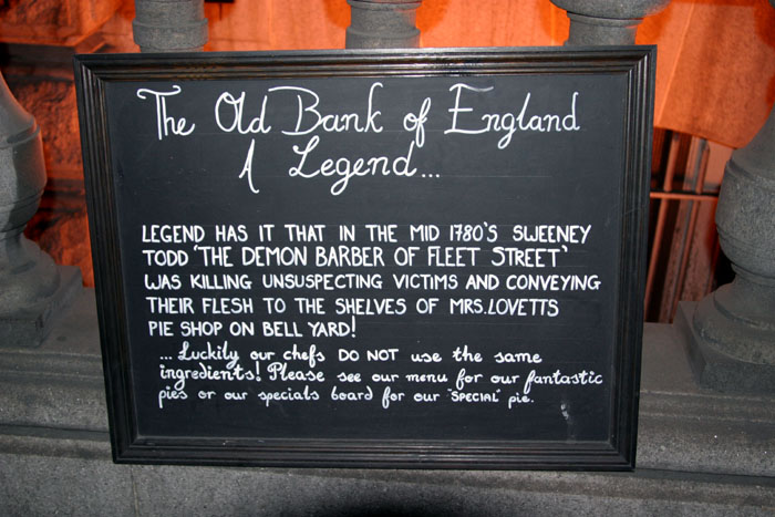 Sign outside the restaurant at the old Bank of England