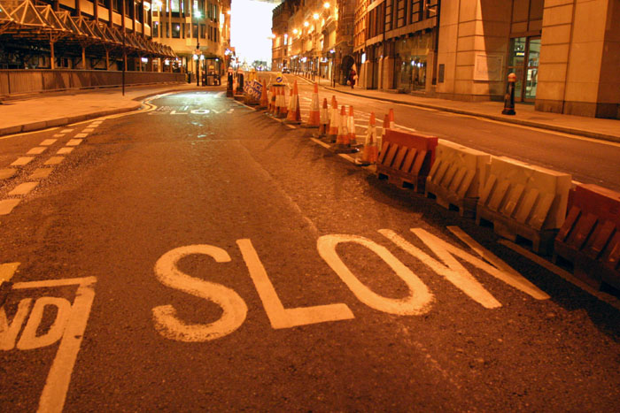''SLOW'' label on Ludgate Hill, London