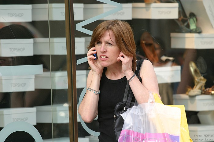 Woman with mobile at Oxford Street