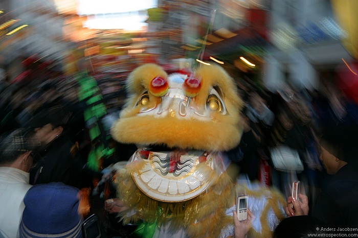 Dancing Lions in London's Chinatown