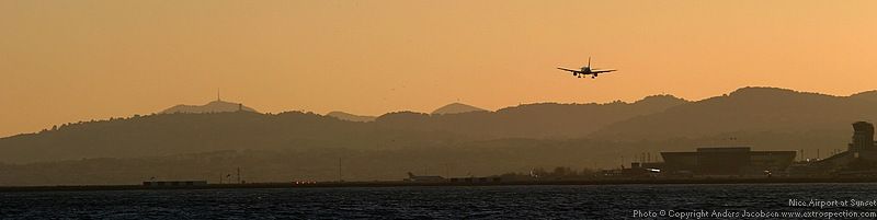Nice arport (NCE) at sun set, February 2006