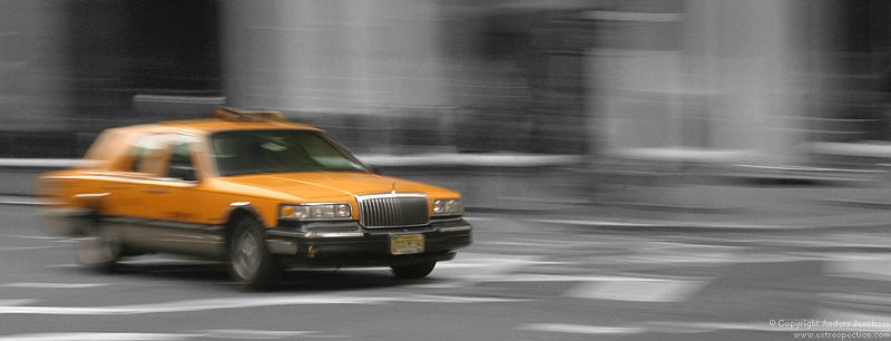 A New York yellow cab, Manhattan 5th avenue